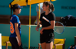 May 4, 2019 - Madrid, MADRID, SPAIN - Sorana Cirstea of Romania & Julia Goerges of Germany during practice at the 2019 Mutua Madrid Open WTA Premier Mandatory tennis tournament (Credit Image: © AFP7 via ZUMA Wire)