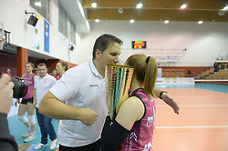 Samo Miklavc, head coach of Novo KBM Branik with players and pokal after volleyball match between Nova KBM Branik Maribor and OK Calcit Volley in the Final of Slovenian Women Volleyball Cup 2017, on December 22, 2017 in Postojna, Slovenia. Photo by Mario Horvat / Sportida