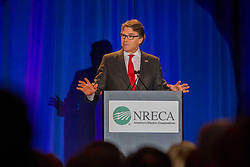 April 24, 2017 - Washington, DC, United States of America - U.S. Secretary of Energy Rick Perry addresses the NRECA Legislative Conference meeting April 24, 2017 in Washington, DC. (Credit Image: © Simon Edelman/Planet Pix via ZUMA Wire)