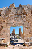 Roman gates & fortifications of Perge, 3rd cent with the older towers of the Hellenistic gates inside. AD. Perge (Perga) archaeological site, Turkey .<br /> <br /> If you prefer to buy from our ALAMY PHOTO LIBRARY  Collection visit : https://www.alamy.com/portfolio/paul-williams-funkystock/perge-archaeological-site-turkey.html<br /> <br /> Visit our CLASSICAL WORLD HISTORIC SITES PHOTO COLLECTIONS for more photos to download or buy as wall art prints https://funkystock.photoshelter.com/gallery-collection/Classical-Era-Historic-Sites-Archaeological-Sites-Pictures-Images/C0000g4bSGiDL9rw