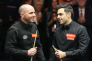 Joe Perry (Eng) congratulates Ronnie O'Sullivan (Eng) on right after Ronnie O'Sullivan wins the match.  Ronnie O'Sullivan (Eng) v Joe Perry (Eng), the Masters Final at the Dafabet Masters Snooker 2017, at Alexandra Palace in London on Sunday 22nd January 2017.<br /> pic by John Patrick Fletcher, Andrew Orchard sports photography.
