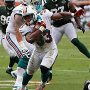 Running back Daniel Thomas (33) runs during an NFL football game between the New York Jets and the Miami Dolphins on Sunday, September 23, 2012 at SunLife Stadium in Miami, Florida. (AP Photo/Alex Menendez)