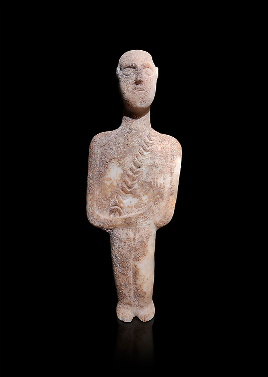 Post canonical ancient Greek Cycladic warrior or hunter figurine, Late Ccladic prioc II to Cycladic period II (2500-2000 BC)Museum of Cycladic Art Athens, cat no 308.  Against black<br /> <br /> The relif of a baldric crossing the body left to righ suggest the figure was of a warrior or hunter. A small triangular dagger is incised as if hanging from the baldric.