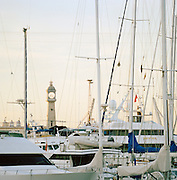 The Clock Tower at Port Vell and Barcelona Harbour, Barcelona, Spain