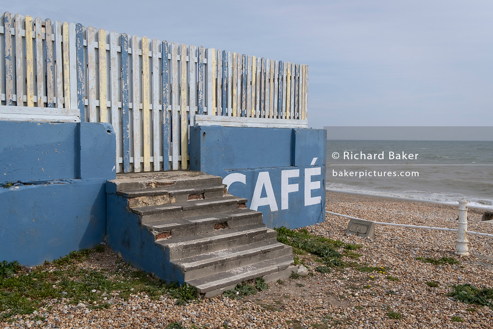 A seaside landscape of the outdoor seafront cafe that was once a part of the St Leonards Bathing pool (opened 1933), on 3rd May 2021, in St Leonards, Sussex, England.