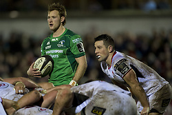December 24, 2017 - Galway, Ireland - Kieran Marmion of Connacht and John Cooney  of Ulster during the Guinness PRO14 Round 11 match between Connacht Rugby and Ulster Rugby at the Sportsground in Galway, Ireland on December 23, 2017  (Credit Image: © Andrew Surma/NurPhoto via ZUMA Press)