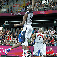 29 July 2012: USA Kevin Durant blocks the ball during the 98-71 Team USA victory over Team France, during the men's basketball preliminary, at the Basketball Arena, in London, Great Britain.