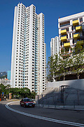 An accommodation tower block near Wong Chuk Hang Hospital, Hong Kong.