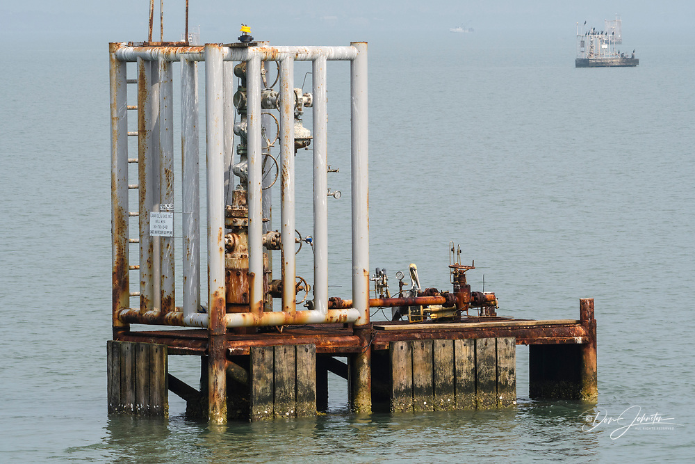 Gas industry rig in Aransas Bay, Rockport, Texas, USA