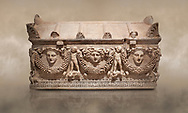 """Picture of Roman relief sculpted Sarcophagus of Garlands, 2nd century AD, Perge. This type of sarcophagus is described as a """"Pamphylia Type Sarcophagus"""". It is known that these sarcophagi garlanded tombs originated in Perge and manufactured in the sculptural workshops of Perge. Antalya Archaeology Museum, Turkey.. Against a warm art background. .<br /> <br /> If you prefer to buy from our ALAMY STOCK LIBRARY page at https://www.alamy.com/portfolio/paul-williams-funkystock/greco-roman-sculptures.html . Type -    Antalya    - into LOWER SEARCH WITHIN GALLERY box - Refine search by adding a subject, place, background colour, etc.<br /> <br /> Visit our ROMAN WORLD PHOTO COLLECTIONS for more photos to download or buy as wall art prints https://funkystock.photoshelter.com/gallery-collection/The-Romans-Art-Artefacts-Antiquities-Historic-Sites-Pictures-Images/C0000r2uLJJo9_s0"""