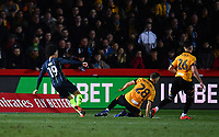 Football - 2018 / 2019 Emirates FA Cup - Fifth Round: Newport County vs. Manchester City<br /> <br /> Manchester City's Leroy Sane scores the opening goal, at Rodney Parade.<br /> <br /> COLORSPORT/ASHLEY WESTERN