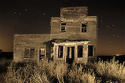 Old general store in ghost town at night<br /> Bents<br /> Saskatchewan<br /> Canada