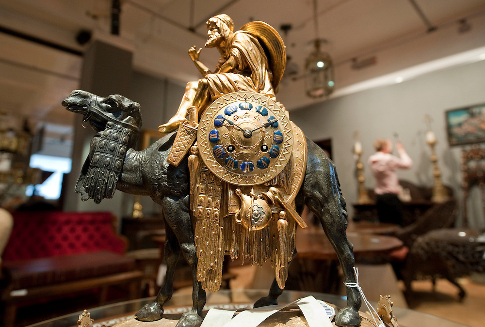 London January 14th Early 20th Century bronzed metal and ormolu clock modelled as an Arab astride a camel that  will go under the hammer at the annual BonhamsThe  Gentlemen's Library Sale on January 20th...***Agreed Fee's Apply To All Image Use***.Marco Secchi /Xianpix. tel +44 (0) 771 7298571. e-mail ms@msecchi.com .www.marcosecchi.com