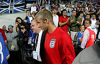 Photo: Paul Thomas.<br /> Estonia v England. UEFA European Championships Qualifying, Group E. 06/06/2007.<br /> <br /> David Beckham of England walks off into the tunnel.