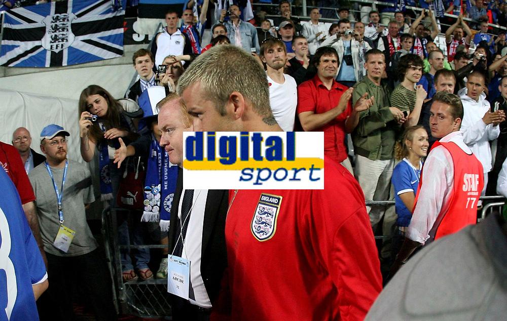 Photo: Paul Thomas.<br /> Estonia v England. UEFA European Championships Qualifying, Group E. 06/06/2007.<br /> <br /> David Beckham of England walks off into the tunnel.