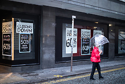 © Licensed to London News Pictures . 01/12/2018. Manchester , UK . People outside Kendal's House of Fraser department store on Deansgate in Manchester City Centre as a new rental agreement has been secured with the landlord enabling the store to continue trading . Photo credit : Joel Goodman/LNP