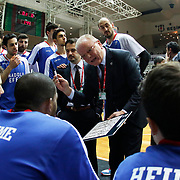 Anadolu Efes's Coach Dusan Ivkovic (C) during their Turkish basketball league match Besiktas integral Forex between Anadolu Efes at BJK Akatlar Arena in Istanbul, Turkey, Monday, January 05, 2015. Photo by TURKPIX