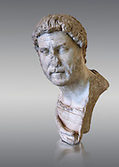 Roman marble portrait bust of Emperor Hadrian, 117-138 AD found in the Horti Tauriani, Rome.  The bust portrays an elderly Hadrian with a well worn expression from around 130AD. An enthusiastic builder Hadrian rebuilt the Pantheon and constructed the Temple of Venus and Roma as well as building Hadrian's Wall, which marked the northern limit of Roman Britain. His villa at Tivoli also showed Hadrian passion for water and Roman baths. Hadrian was regarded by some as a humanist and was philhellene in most of his tastes. He is regarded as one of the Five Good Emperors.  MC inv 890, Capitoline Museums, Rome ...<br /> <br /> If you prefer to buy from our ALAMY STOCK LIBRARY page at https://www.alamy.com/portfolio/paul-williams-funkystock/greco-roman-sculptures.html . Type -    Capitoline    - into LOWER SEARCH WITHIN GALLERY box - Refine search by adding a subject, place, background colour, etc.<br /> <br /> Visit our ROMAN WORLD PHOTO COLLECTIONS for more photos to download or buy as wall art prints https://funkystock.photoshelter.com/gallery-collection/The-Romans-Art-Artefacts-Antiquities-Historic-Sites-Pictures-Images/C0000r2uLJJo9_s0