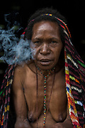 Dani tribe woman<br /> Budaya village<br /> Suroba<br /> Trikora Mountains<br /> West Papua<br /> Indonesia