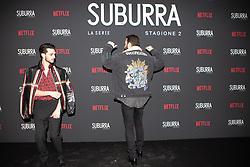 Alessandro Borghi e Giacomo Ferrara at the Red Carpet of the series Suburra 2 at Circolo Degli Illuminati in Rome, Italy, 20 February 2019 .Dress: Gucci, Fendi  (Credit Image: © Lucia Casone/Soevermedia via ZUMA Press)