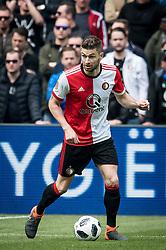 Jan-Arie van der Heijden of Feyenoord during the Dutch Eredivisie match between Feyenoord Rotterdam and FC Utrecht at the Kuip on April 15, 2018 in Rotterdam, The Netherlands