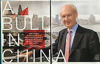 Anthony Bolton, a famous British investor, photographed in Shanghai with the Bund in the background in Bloomberg Markets magazine - story by William Mellor.