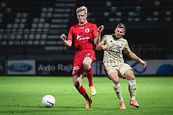 Søren Tengstedt of AGF Aarhus and Klemen Šturm of Mura during football match between NS Mura and AGF Aarhus in Second Round of UEFA Europa League Qualifications, on September 17, 2020 in Stadium Fazanerija, Murska Sobota, Slovenia. Photo by Blaz Weindorfer / Sportida