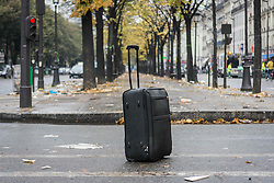 November 4, 2016 - Paris, France - An suitcase abandoned during the evacuation of a makeshift camp near Stalingrad metro station in Paris on November 4, 2016, one of several camps sprouting up around the French capital. Over 2000 migrants were moved by police from the Paris town center to a legal migrant camp. (Credit Image: © Julien Mattia/NurPhoto via ZUMA Press)