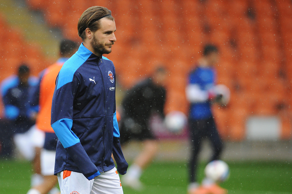 Blackpool's Luke Garbutt during the pre-match warm-up <br /> <br /> Photographer Kevin Barnes/CameraSport<br /> <br /> The EFL Sky Bet League One - Blackpool v Lincoln City - Saturday 3rd October 2020 - Bloomfield Road - Blackpool<br /> <br /> World Copyright © 2020 CameraSport. All rights reserved. 43 Linden Ave. Countesthorpe. Leicester. England. LE8 5PG - Tel: +44 (0) 116 277 4147 - admin@camerasport.com - www.camerasport.com