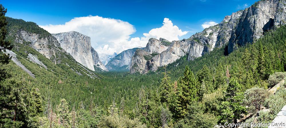 Yosemite Tunnel View, panorama. The classic Ansel Adams shot. El Captian and Half Dome. Yosemite National Park.