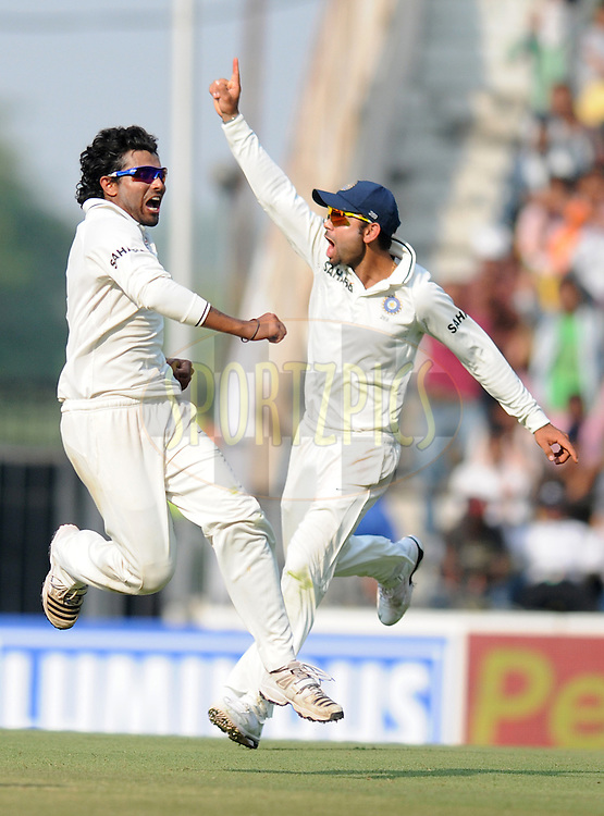 Ravindra Jadeja of India celebrates the wicket of Kevin Pietersen of England during day four of the 4th Airtel Test Match between India and England held at VCA ground in Nagpur on the 16th December 2012..Photo by  Pal Pillai/BCCI/SPORTZPICS .