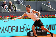 Alexander Zverev of Germany against Dominic Thiem of Austria during semi-final on the Mutua Madrid Open 2021, Masters 1000 tennis tournament on May 8 2021 at La Caja Magica in Madrid, Spain - Photo Laurent Lairys / ProSportsImages / DPPI