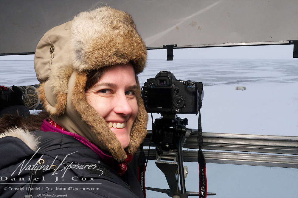 Magdel Combrinck photographing polar bears from the Tundra Buggy at Cape Churchill, 2012
