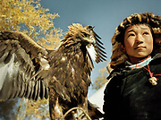 Bazer Bai, 14 years old, shows his eagle. <br /> <br /> Eagle Hunting festival in Western Mongolia, in the province of Bayan Olgii. Mongolian and Kazak eagle hunters come to compete for 2 days at this yearly gathering. Mongolia