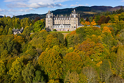 Aerial view during autumn of Atholl Palace Museum and town of Pitlochry in Perthshire, Scotland, UK
