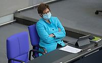 DEU, Deutschland, Germany, Berlin, 11.02.2021: Deutscher Bundestag, Bundesverteidigungsministerin Annegret Kramp-Karrenbauer (CDU).