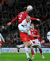 Photo: Tony Oudot/Richard Lane Photography. <br /> England v Switzerland. International Friendly. 06/02/2008.<br /> Wayne Rooney of England beats Philippe Senderos of Switzerland to the ball