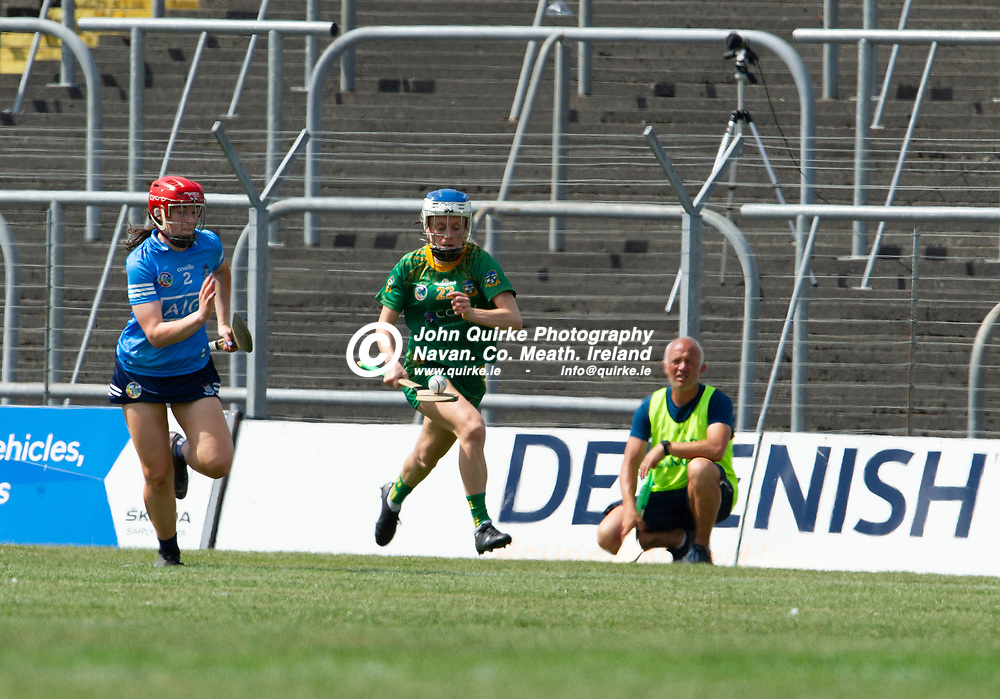 25-07-21. Meath v Dublin All-Ireland Intermediate Camogie Championship (Group 1) at Pairc Tailteann, Navan.<br /> Megan Thynne, Meath in action against Dublin in the All-Ireland Intermediate Camogie Championship.<br /> Photo: John Quirke / www.quirke.ie<br /> ©John Quirke Photography, 16 Proudstown Road, Navan. Co. Meath. (info@quirke.ie / 046-9028461 / 087-2579454).