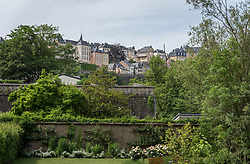 The neighbourhoos of Ville Haute, viewed from the lower neighbourhood of Grund, in Luxembourg.