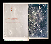Apollo 11 landing site, Dad's overlay on photograph made during Apollo 10 mission.