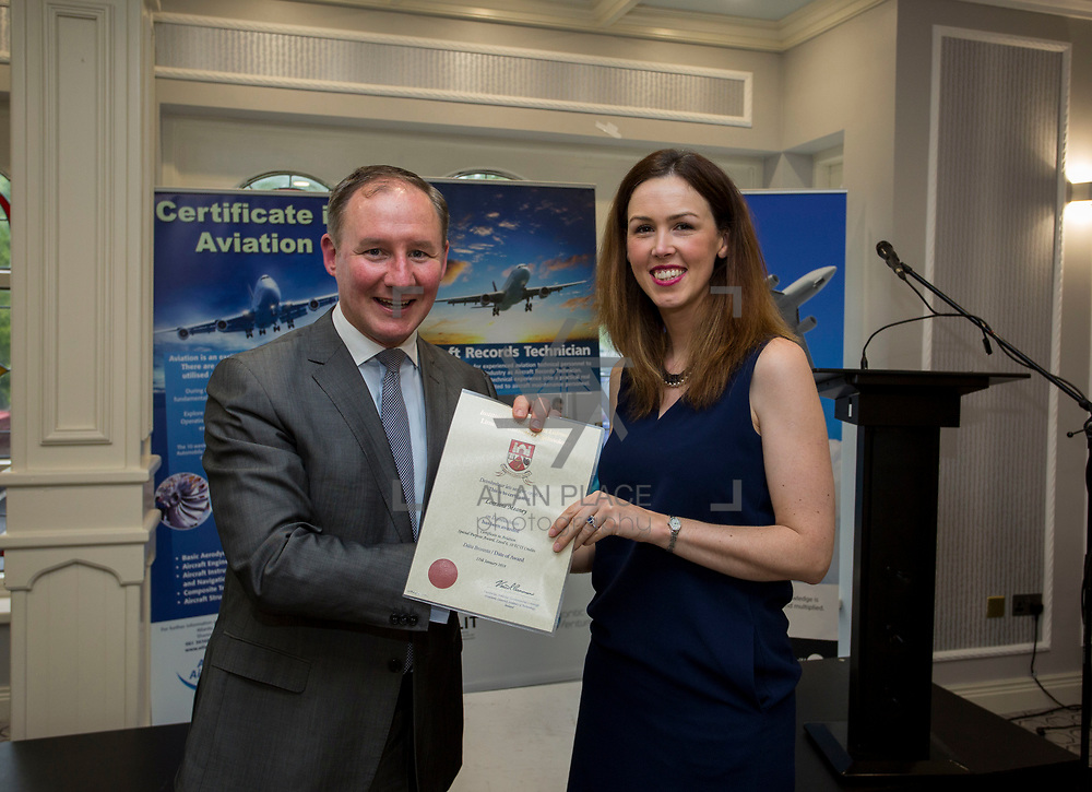 24.05.2018.       <br /> The Limerick Institute of Technology with Atlantic Air Adventures and funding from the Aviation Skillnet presented over forty certificates to Aviation professionals who have completed the Certificate in Aviation, The Aircraft Records Technician Level 7 and Part 21 Design, Level 7.<br /> <br /> Pictured at the event was Jim Gavin, The Irish Aviation Authority and Manager of the Dublin Football Team who presented, Lorraine Meaney with their cert.<br /> <br /> LIT in partnership with Atlantic Air Adventures, CAE Parc Aviation, Part 21 Design and industry experts such as Anton Tams, GECAS, Don Salmon, CAE Parc Aviation and Mick Malone, Part 21 Design have developed and deliver these key training programmes with funding for aviation companies provided by The Aviation Skillnet.<br /> <br /> . Picture: Alan Place