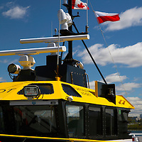 North America, Canada, Nova Scotia, Halifax. Boat in the Halifax harbor.