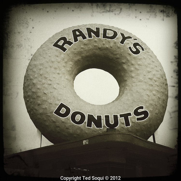 The giant iconic donut at Randy's Donuts in Los Angeles.