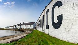 Exterior view of Laphroaig scotch whisky distillery at Kildalton on Islay , Inner Hebrides , Scotland, UK