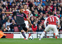Football - 2018 / 2019 Premier League - Arsenal vs. Everton<br /> <br /> Cenk Tosun (Everton FC ) with an attempt at the Atsenal goal at The Emirates.<br /> <br /> COLORSPORT/DANIEL BEARHAM