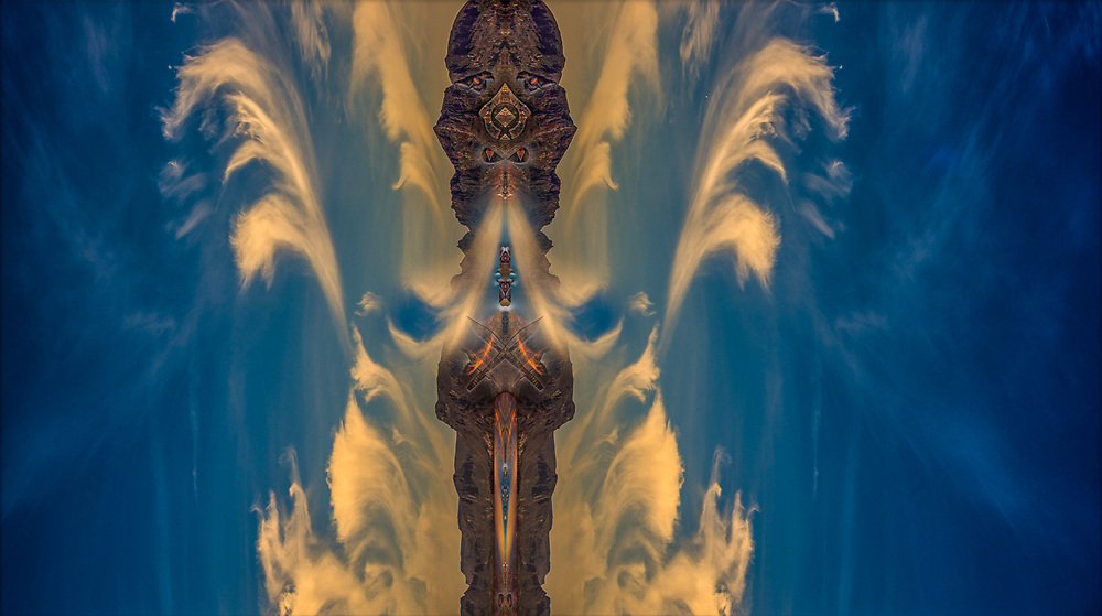 """""""Sea of Cortez Fire Demon"""", derivative image created from a photo of coastal cliffs and evening clouds, Baja, Mexico"""