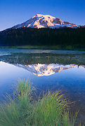 Dawn light on Mount Rainier from Reflection Lake, Mount Rainier National Park, Washington