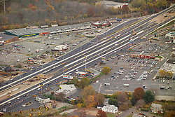 I-95 at the New Haven & East Haven city line, Connecticut. Aerial Photograph taken November 8, 2005 at peak autumn foliage. Construction progress image capture. Showing interchanges, overpasses and Amtrak rail right of way where applicable.