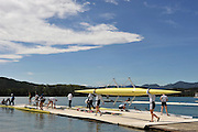 Banyoles, SPAIN,  GV's. Crews prepare for boating and  training sessions at the FISA World Cup Rd 1. Lake Banyoles  Thursday,  28/05/2009   [Mandatory Credit. Peter Spurrier/Intersport Images]