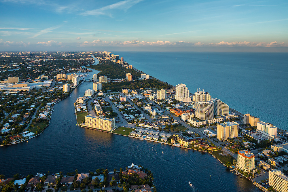 Aerial photograph of Ft. Lauderdale beach and waterways looking north showing the Intracoastal Waterway